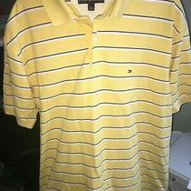 Tommy Hilfiger Yellow Polo Rugby Shirt Men's Size Xl Navy Blue & White Striped Photo