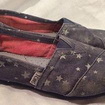 Toms 4th of July Red White Blue Denim Patriotic Stars Girls Youth Size 4 Photo