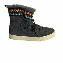 Toms Alpine Gray Suede Lace Up Faux Fur Ankle Sneaker Boots Size 8 Photo