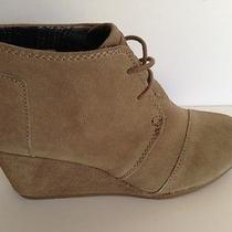 Toms Ankle Boots Taupe Suede Women's Desert Wedges Size 6 Photo