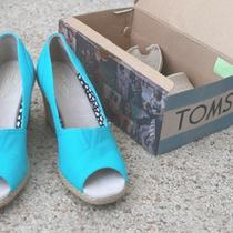 Toms Aqua Blue Wedges Size 7 Photo