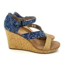 Toms Beige Blue Textile Strappy Open Toe Ankle Strap Wedge Sandals Womens 8.5  Photo
