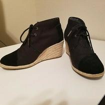 Toms Black Canvas Lace Up Wedge Platform Shoes Size 8 Us Photo