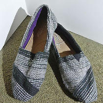 Toms Black Stripe Wool Classics Flats / Shoes Size 8.5 - New Photo