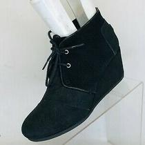 Toms Black Suede Lace Wedge Fashion Ankle Boots Booties Womens Size 8 W Photo