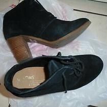 Toms Black Suede Leather Ankle Boots Women Size 8.5 M uk6.5  Eu39 Tom's Booties Photo