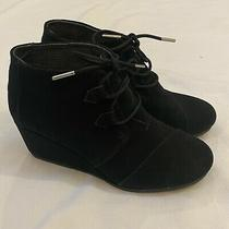 Toms Black Suede Wedge Bootie Size 8 Photo