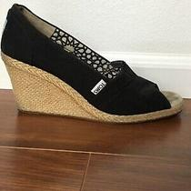 Toms Black Wedge Peep Toe Shoes Size 8 Good Condition Photo