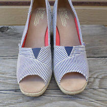 Toms Blue White Stripe Wedge Sandals Women's 7.5 Photo