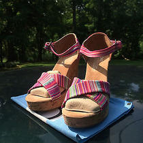 Toms Bright Colorful Tierra Canvas Cork Strappy Wedges 8 Photo