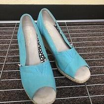 Toms Calypso Canvas Peep Toe Wedge Pump Shoes Women's Size 7.5w Blue Teal Photo