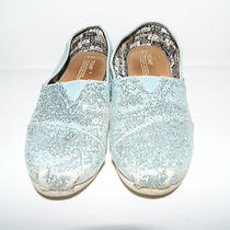 Toms Canvas Shoes Classic Youth Girl Size 1 Sparkle Glitter Blue Green Guc Photo