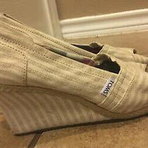 Toms Canvas Wedge Peep Toe Slip on Sandal  Women's Size 10 Beige Stripes Photo