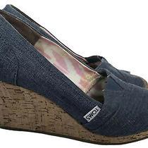 Toms Chambray Wedge Heels Peep Toe Cork Sz 9 Denim Blue Sandals Platform Photo