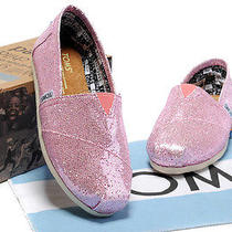 Toms Classic Pink Glitter Size 8.5 Nwot  Photo