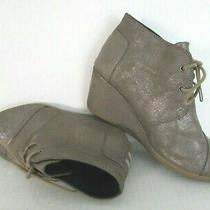 Toms Desert Wedge Ankle Boot Bootie Lace Up Grey Taupe Metallic Women's Size 8 Photo