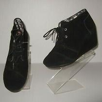 Toms Desert Wedge Black Suede Lace Up Ankle Boots Booties Womens sz.7 Cute Photo
