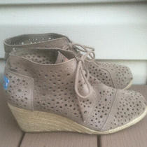 Toms Desert Wedge Bootie Ankle Boot Lace-Up Suede 10m Perforated Beige Photo