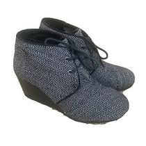Toms Desert Wedge Heel Bootie Shoes Boot Womens Size 7.5 Black Herringbone Photo