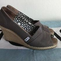 Toms Espadrille Platforms Open Toe Wedges Sandals Gray Women Shoes Sz 8.5w Photo