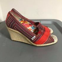 Toms Espadrille Women's Size 8.5 Wedge Heels  Peep Toe Red/wine Pattern  Photo