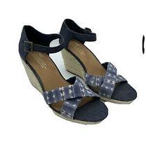 Toms Espadrilles Sandals Blue Wedge Ankle Strap Open Toe Womens Sz 8.5 W Shoes Photo
