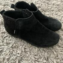 Toms Girls Size 2 Ankle Boots Booties Black Leather Suede Zip Shoes Youth Photo