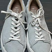 Toms Gray Leather Suede Casual Lace Up Sneakers Shoes Women's Size 8 Worn 2x Photo