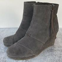 Toms Gray Suede Side Zip Ankle Platform Booties Wedge Boots Size 11 Photo