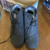 Toms Grey Wool Desert Wedge Winter Bootie Women Size 6 Photo