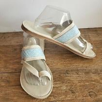 Toms  Isabela Flip Flop Sandal Full Grain Leather Cream Blue  Womens Size 11 Photo