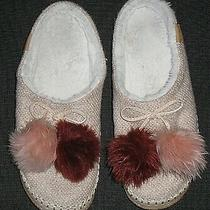 Toms Ivy Pom Pom Felt Rose Cloud Slippers Shoes Womens Size 6 36.5 Photo