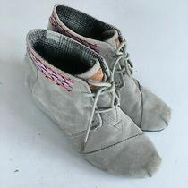 Toms Kala Lace Up Wedge Booties Grey Women Size 8 Aztec Heel Leather Suede Shoes Photo