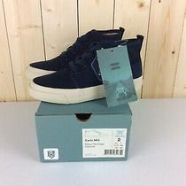 Toms Kids Carlo Mid Sneakers Navy Heritage Canvas Kids Size 2 Photo