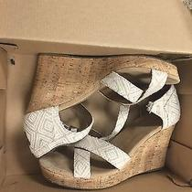 Toms Ladies Natural Woven Diamond Strappy Wedge New  Size 7 Photo