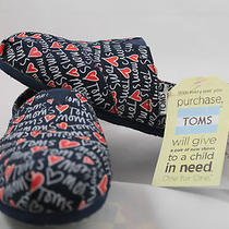 Toms Loves Moms 9.5 Blue Red Mothers Day Rare Wow Flats Shoes New W/tags No Box  Photo