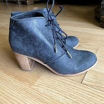 Toms Lunata Lace-Up Bootie Faux Leather Metallic Blue Womens 6 Boots Photo