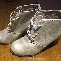 Toms Lunata Metallic Gold Lace Up High Heel Booties 300716 Women's Size 6.5 Photo