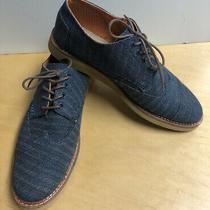 Toms Mens Lace Up Dress Shoes Blue Canvas Oxford Style Size 10.5 Photo