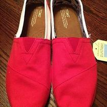 Toms Mens University College Red White Classics Slip on Size 11.5 Photo