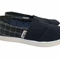 Toms Shoes Boys Kids Size 12 Black Gray Plaid Slip-on Loafers Slippers Photo