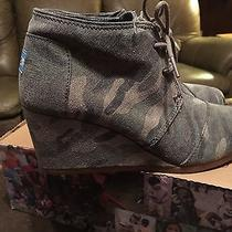 Toms Shoes Womens Desert Wedge Washed Camo Canvas Size 9.5new in Box Tom's Shoes Photo
