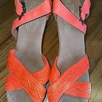 Toms Sienna Bright Orange Canvas Wedge Platform Sandal Cork Women's Size 8 Photo