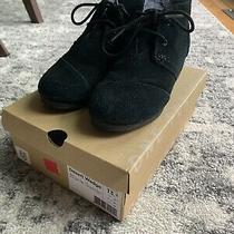 Toms Size 13.5 Little Girls Black Suede Booties Photo