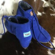 Toms Suede Womens Size 7w Wedge Blue Booties Ankle Boots Photo