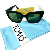 Toms Sydney Matte Black Frame Green Lens Sunglasses Fabfitfun Blue Fabric Case  Photo