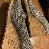 Toms Sz 8.5 Peep Toe Wedge Shoes Brown Sparkle Gold Tweed Herringbone Cork Photo