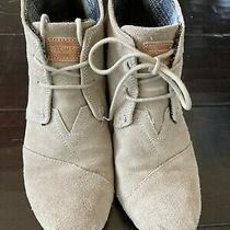 Toms Tan Beige Suede Desert Wedge Booties Size 8 (Women's) Photo