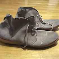 Toms Tan Suede Boot Shoes Laces Rubber Soles Womens Size 10 Photo
