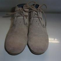 Toms Tan Suede Lace Up Wedge Ankle Booties Shoes Youth Sz Y 4 Photo